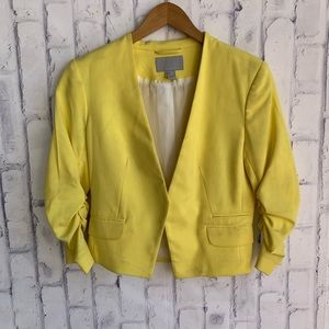 H&M Ruched Sleeve Open Blazer Yellow Spring